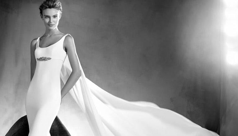 Superhero Wedding Dress - Edurne by Pronovias Atelier - Simple and Beautiful Mermaid Wedding Dress with Round Neckline, Thin Straps, Long Fluid Cape and Gemstone Details - Wedding Dresses with Capes Thumbnail   Confetti.co.uk