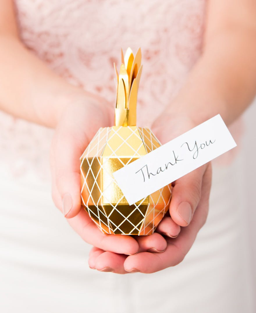 Tropical Pineapple Party Favour Boxes - White and Gold Pineapple Wedding Favour Boxes   Confetti.co.uk