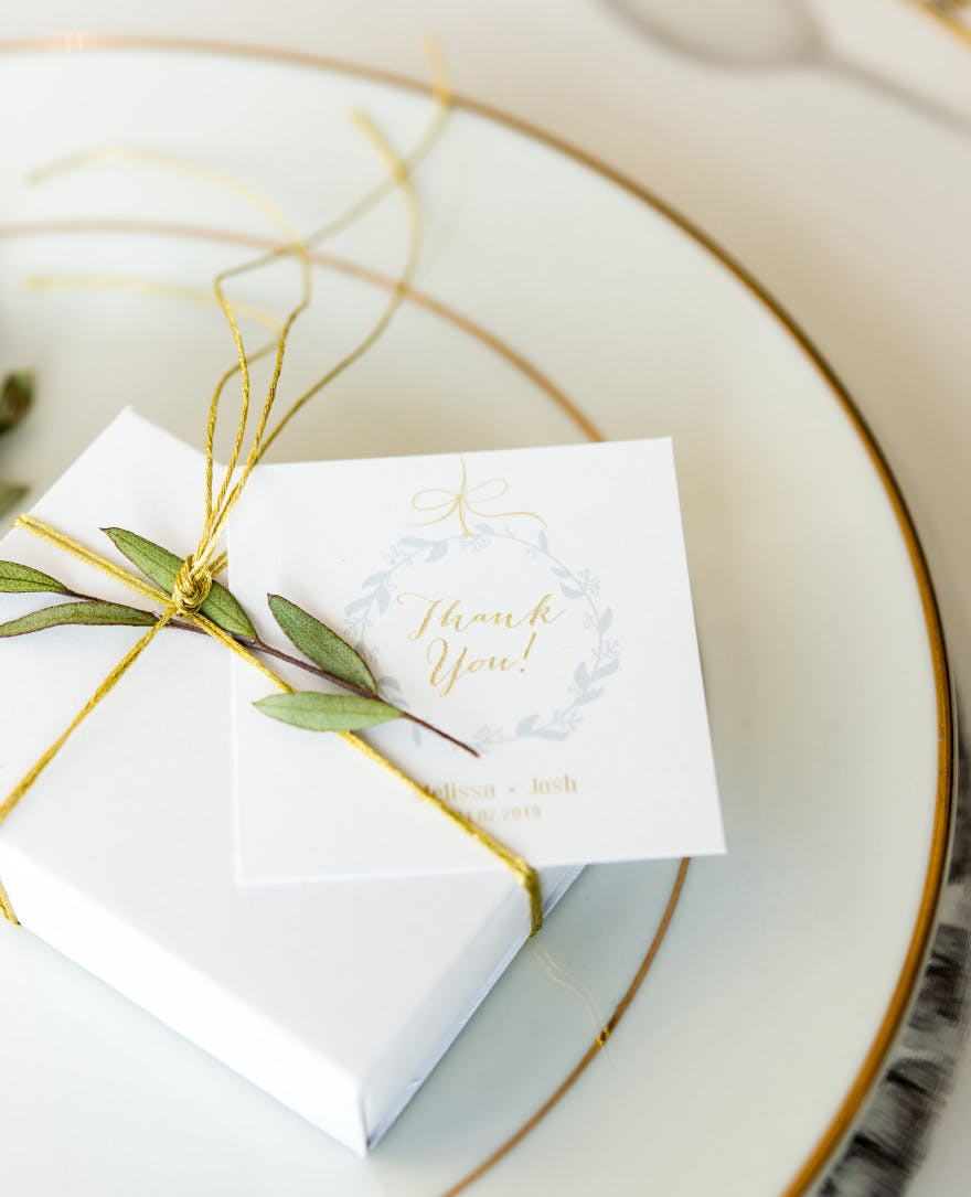 White Drawer-Style Paper Favour Box - Green and Gold Wedding Favour Boxes - Classic Wedding Favours   Confetti.co.uk