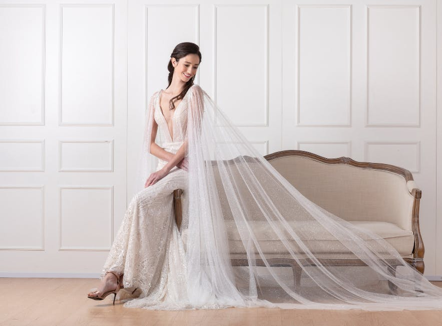 Alternative wedding dress with cape