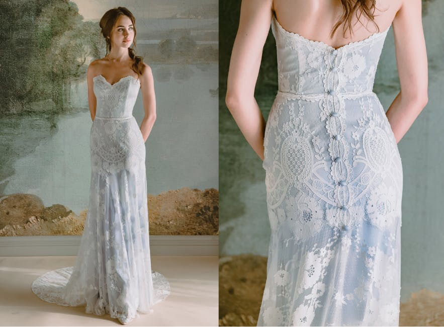 Pale blue alternative wedding dress