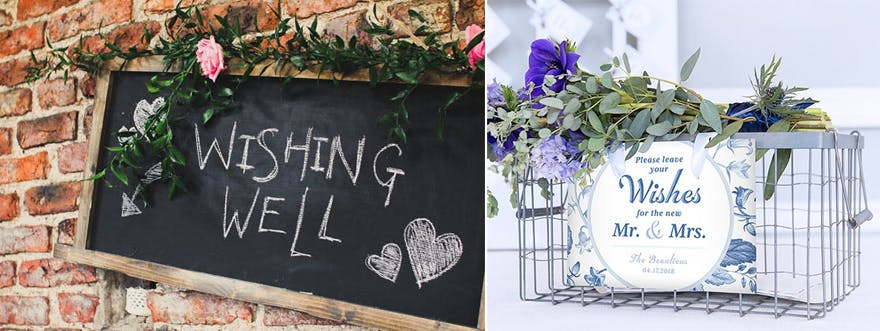 Beautiful Wedding Wishing Well Ideas - Chalk Board Wishing Well Sign and Vintage Blue Floral Wishing Well Basket | Confetti.co.uk
