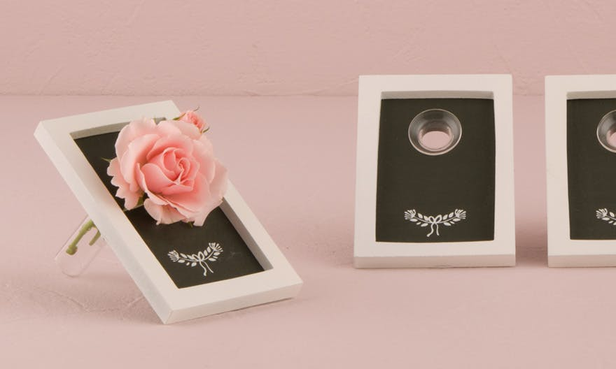 Chalk Board and Vase or Flower Vial - Pastel Pink Wedding - Pastel Pink Rustic Wedding or Pastel Pink Vintage Wedding Ideas | Confetti.co.uk