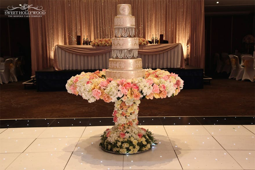 Custom Floral Wedding Cake Table Display by Sweet Hollywood - Luxury Asian Wedding Cakes and Bespoke Wedding Cakes - Floral Wedding Table | Confetti.co.uk