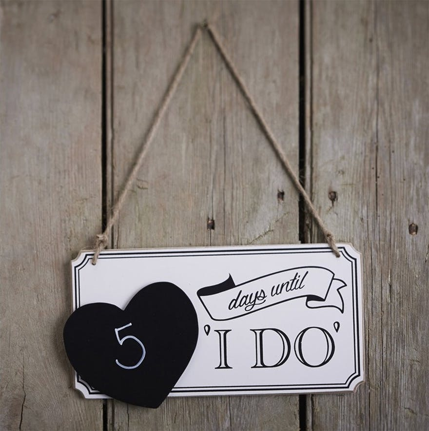 Days Until I Do Black and White Wedding Countdown Sign | Confetti.co.uk