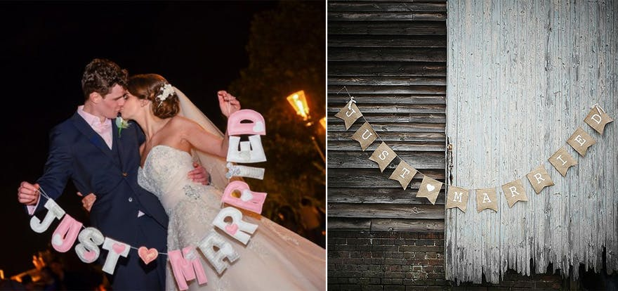 Katy and Matthew's Fun Fairytale Disney Wedding Cute Pink and White Just Married Bunting and A Vintage Affair Rustic Hessian Just Married Bunting | Confetti.co.uk