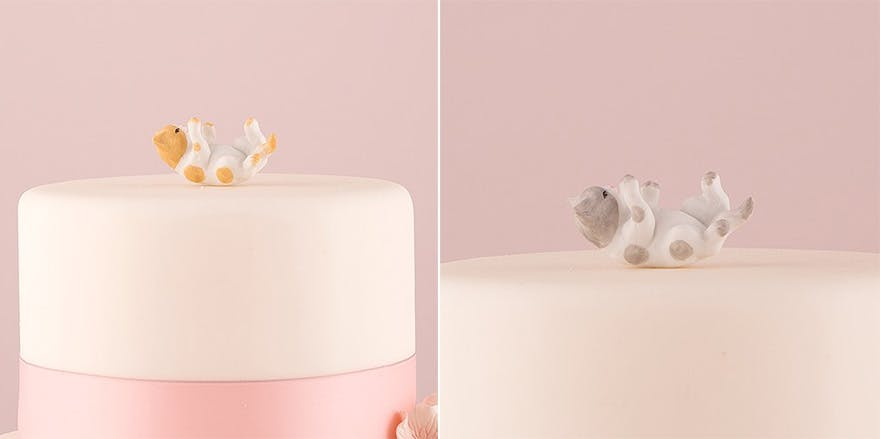 Pet Cake Toppers - Playing Cute Cat Cake Toppers - Miniature Ginger Cat Figurine and Grey Cat Figurine   Confetti.co.uk