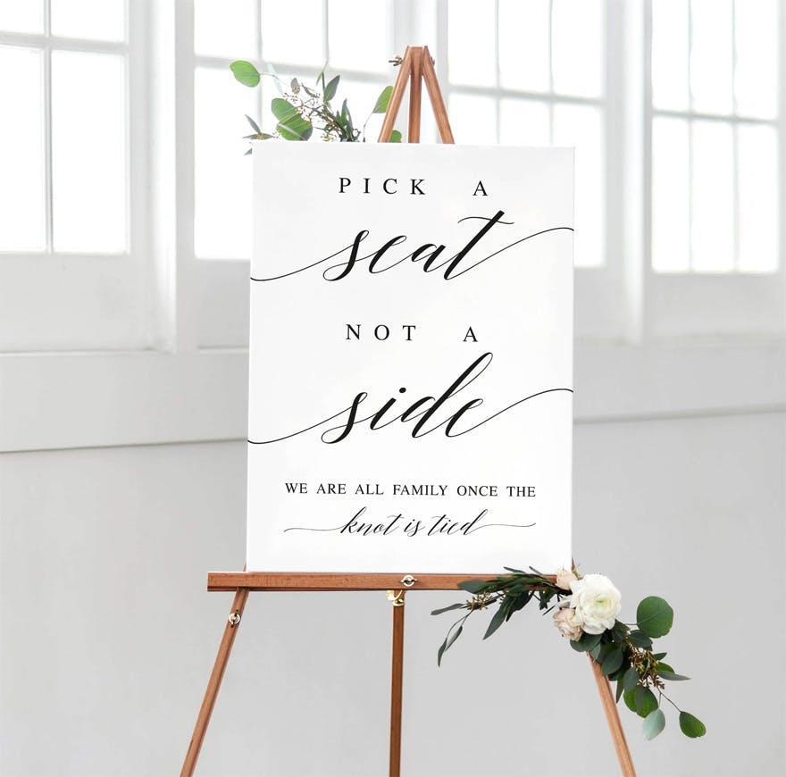 Pick a Seat Not a Side Classic Vintage Rustic Wedding Sign with Calligraphy Script by SweetPaperWedding on Etsy | Confetti.co.uk
