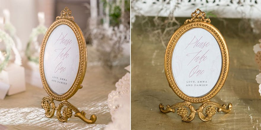 Small Oval Baroque Frame in Metallic Gold - Fairytale Wedding Decor - Beauty and the Beast Wedding Reception Ideas | Confetti.co.uk