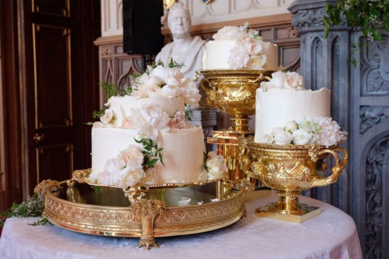 The First Look at the Royal Wedding Cake - Lemon and ElderFlower Royal Wedding Cake on an Ornate Golden Cake Stand | Confetti.co.uk