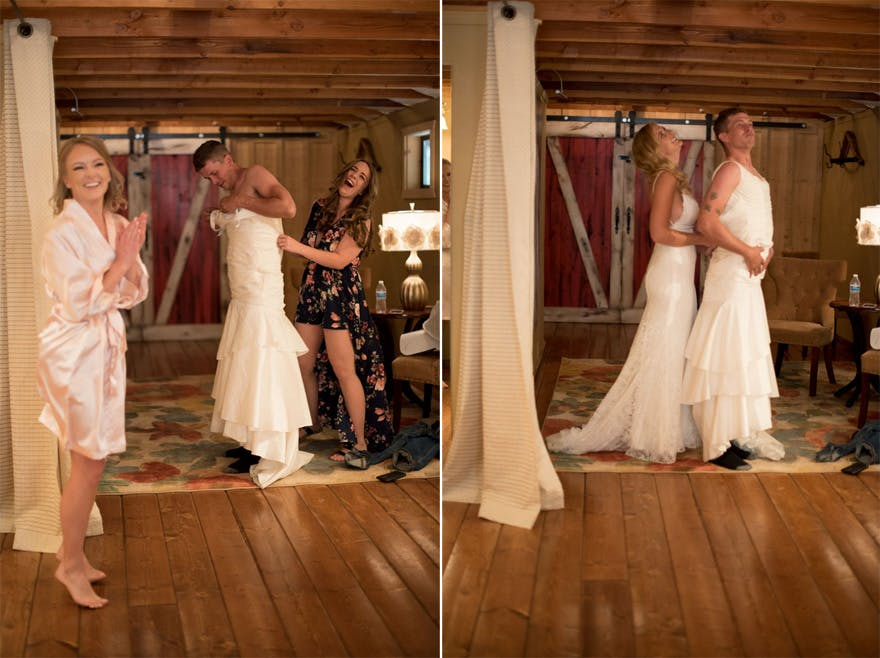 This Bride Pranked Her Groom by Sending Her Brother For the First Look In Her Place | Confetti.co.uk