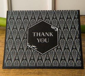 Black and Gold Opulence Art Deco Thank You Card | Confetti.co.uk