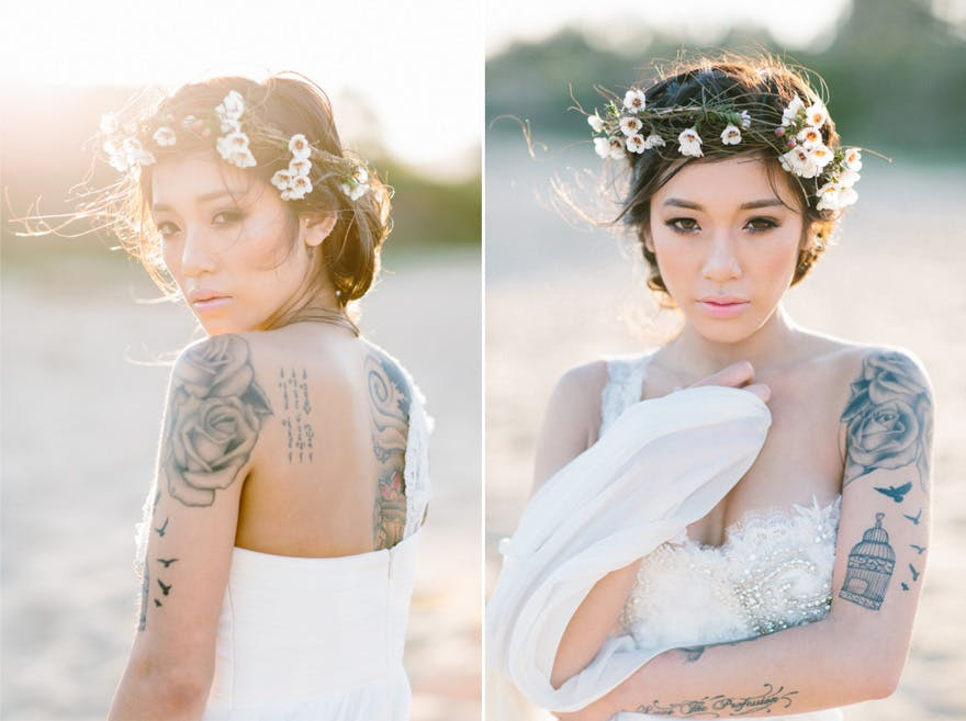 Bohemian Bride with Tattoos - Wanderlust Bridal Shoot from Fifteen Photography - Beautiful Wedding Tattoos - Bridal Tattoos - Tattoos at Weddings | Confetti.co.uk