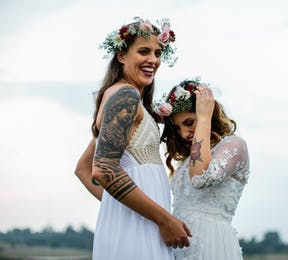 Candi and Scherren Bride and Bride Wedding by Andy and Szerdi Photography - Brides with Tattoos | Confetti.co.uk