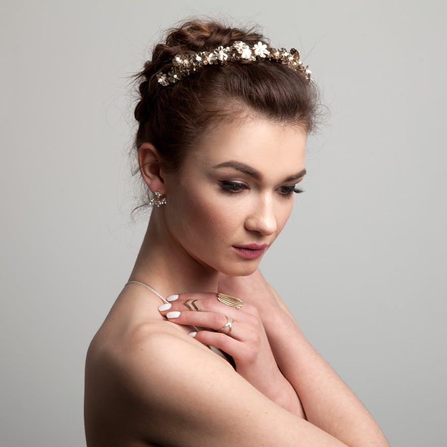 Cosmos Band by AM Faulkner - Hand Embellished Floral Wedding Tiara with Sequins, Beads, and Stones | Confetti.co.uk
