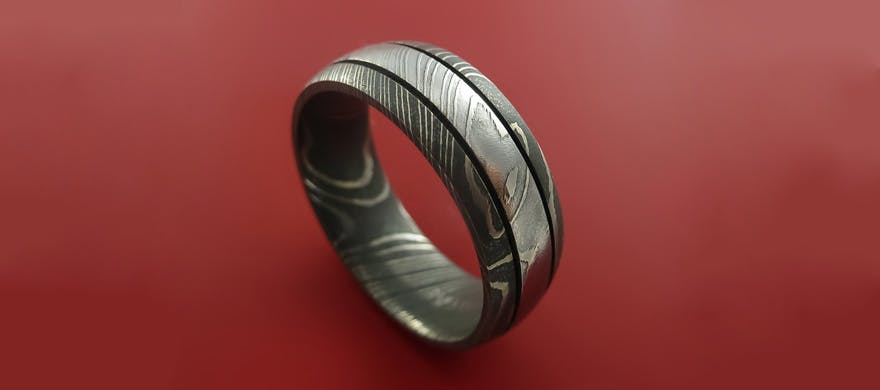 Men's Wedding Rings - Damascus Steel Men's Wedding Bands - Damascus Steel Ring Wedding Band  by Stonebrook Jewellery | Confetti.co.uk