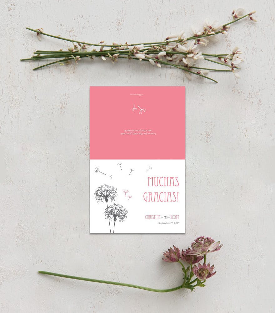 Pretty Wedding Thank You Cards - Dandelion Wishes Thank You Card - Cute Wedding Stationery Ideas | Confetti.co.uk