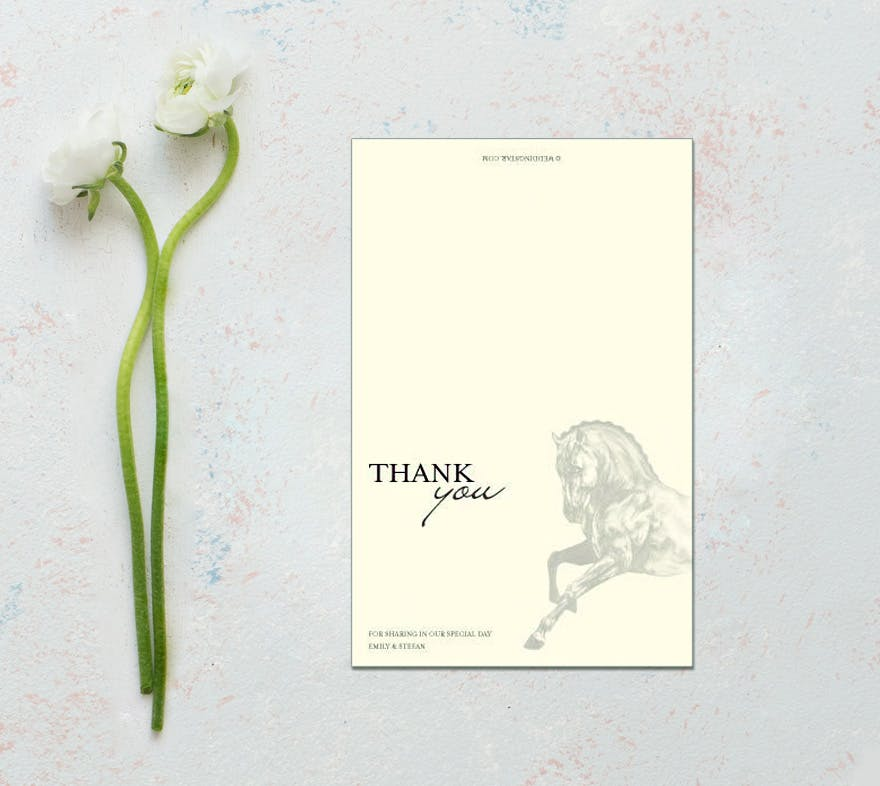Equestrian Love Rustic Thank You Card - Horse Themed Wedding Stationery | Confetti.co.uk