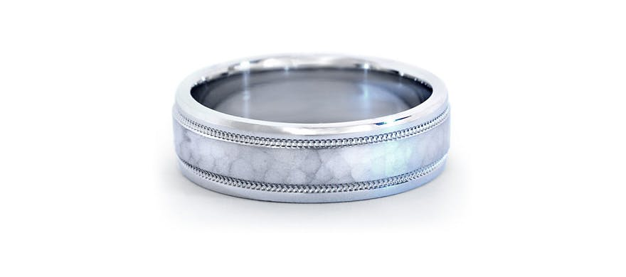 Platinum Men's Wedding Rings - Hammered Milgrain Comfort Fit Wedding Ring in Platinum by Blue Nile | Confetti.co.uk