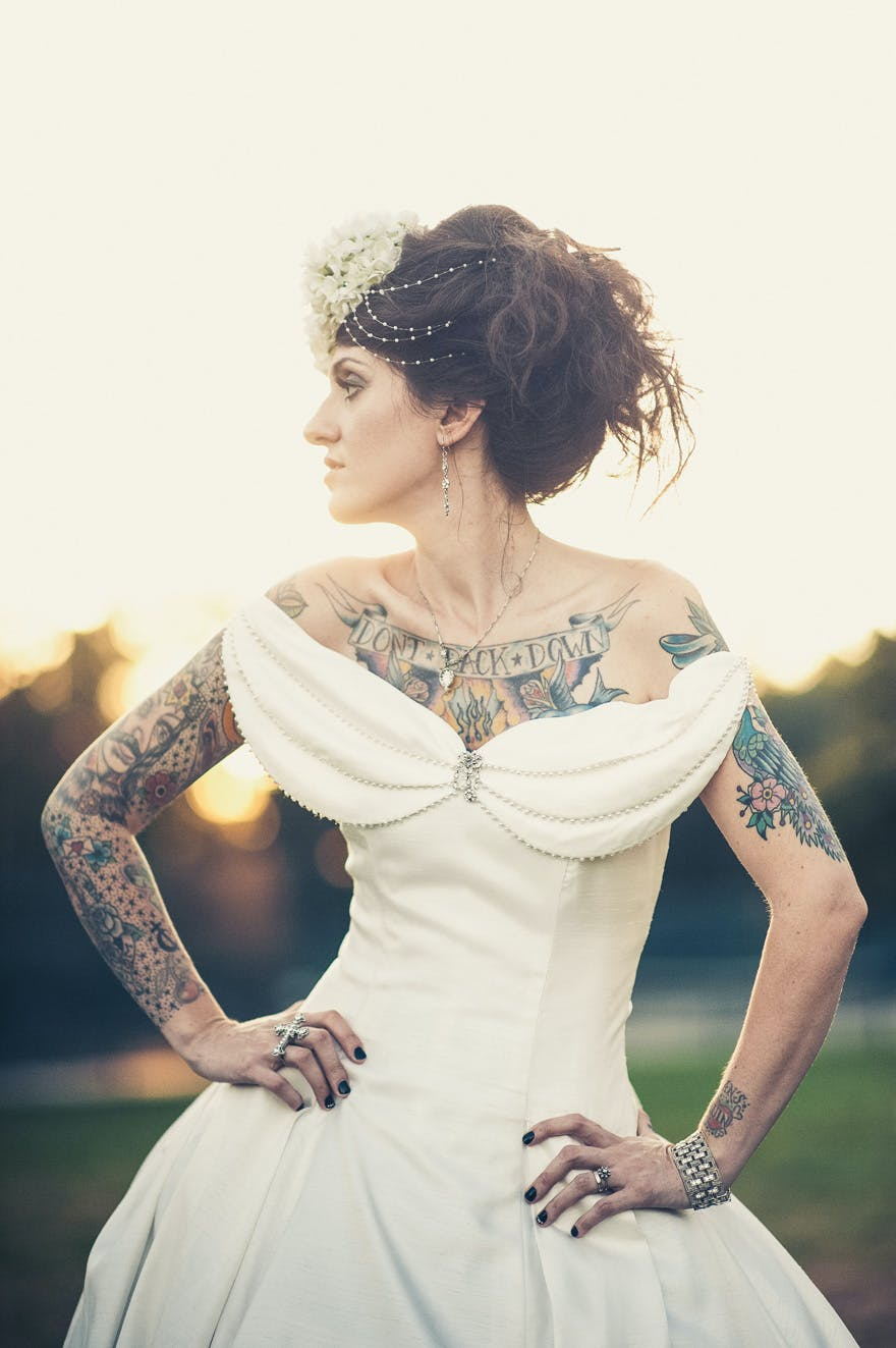 Rocker Bride with Tattoos by Mike Allebach Photographer | Confetti.co.uk