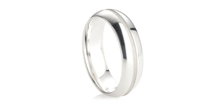 Sterling Silver Men's Wedding Ring - B39 Finish Wedding Ring from Wedding Rings Direct | Confetti.co.uk