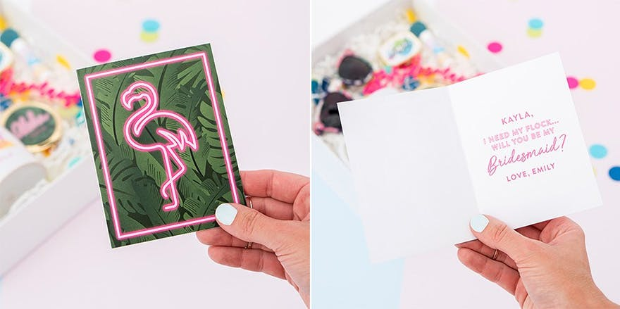 Summer Vibes Thank You Card with Fold - Flamingo Wedding Stationery - Greenery Wedding Stationery | Confetti.co.uk