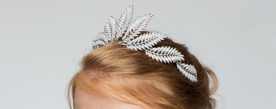 Swarovski Crystal Silver Fern Tiara by Stephanie Browne Australia from the Luxe & Luminous Collection - Contemporary Bridal Accessories Ideas - Unique Wedding Tiaras | Confetti.co.uk