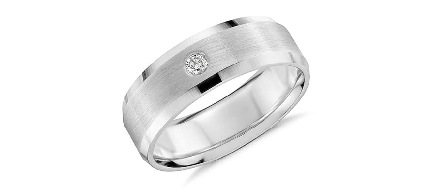 White Gold Men's Wedding Bands - Single Diamond Wedding Ring in 14k White Gold by Blue Nile | Confetti.co.uk