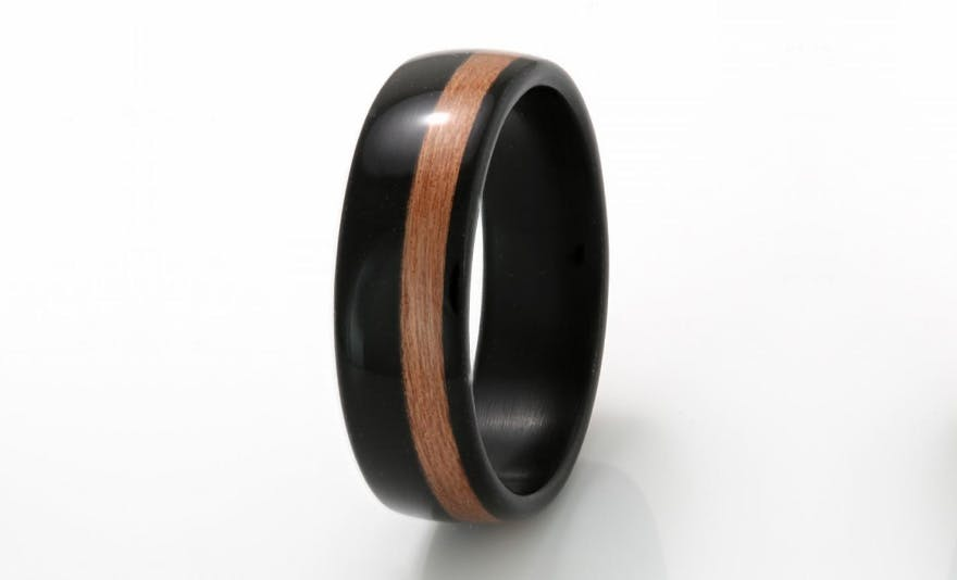 Wooden Wedding Rings - Style C518 - Ebony with Cherry Wedding Ring by Eco Wood Rings | Confetti.co.uk