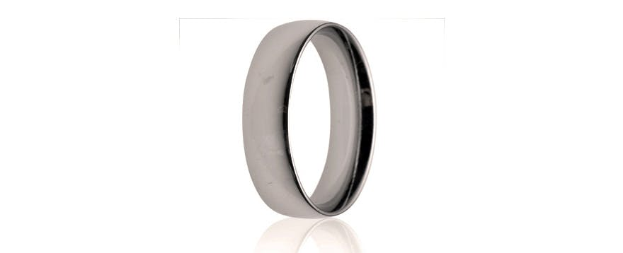 Zirconium Men's Wedding Bands - 6mm Medium Weight Court Wedding Ring from Wedding Rings Direct | Confetti.co.uk