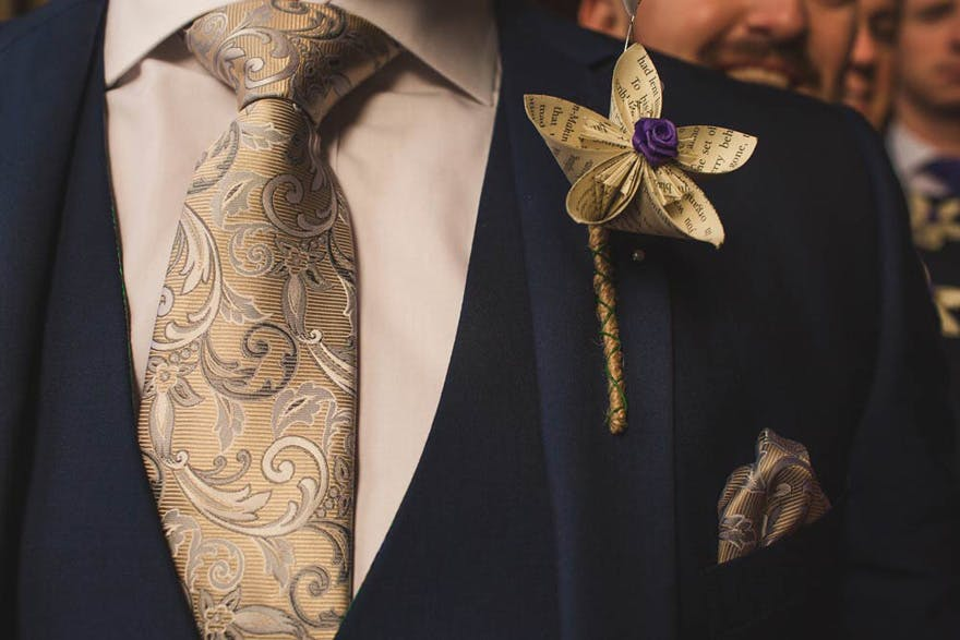 Harry Potter Inspired Groomswear - Kelly Clarke Photography - Harry Potter Buttonhole Tie and Pocket Handkerchief | Confetti.co.uk