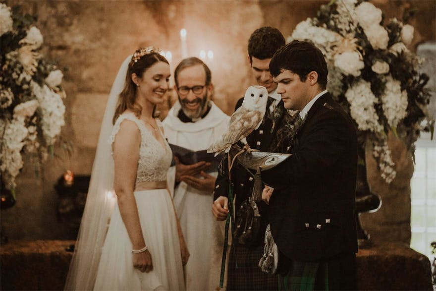 Owls at Weddings - Barn Owl Ring Bearer - Jillian and Matt's Harry Potter Inspired Scottish Castle Wedding by The Curries Photography | Confetti.co.uk