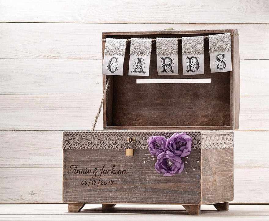 WHITE WEDDING PARTY CARD RECEIVING POST BOX WITH PURPLE LID