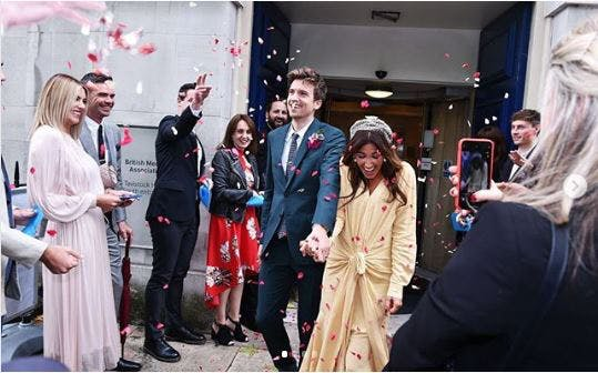 Radio 1 DJ Greg James and his new wife Bella Mackie