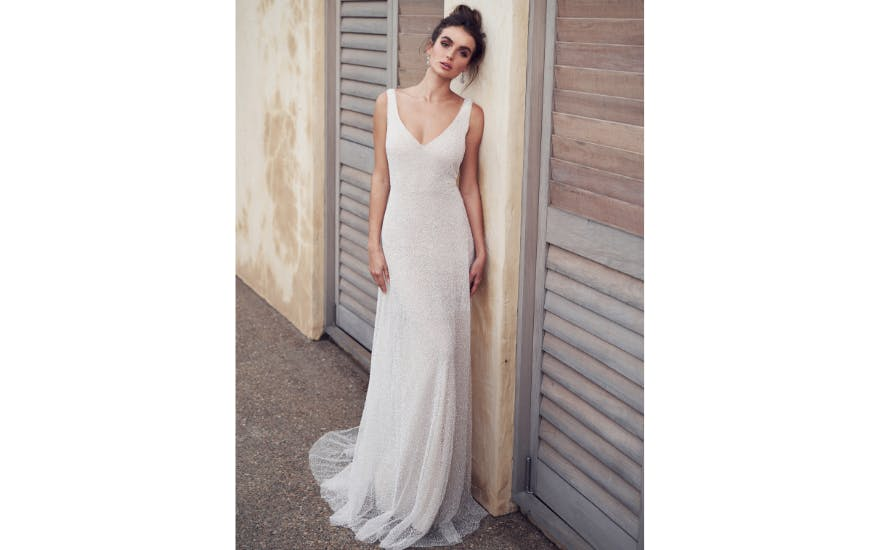 simple beaded wedding dress