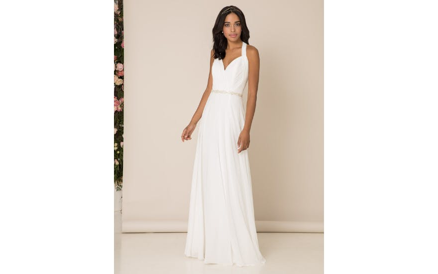 Simple halter neck wedding dress