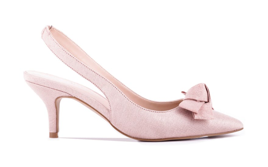 Pale pink low heel wedding shoes