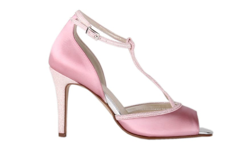 pink t bar wedding shoes