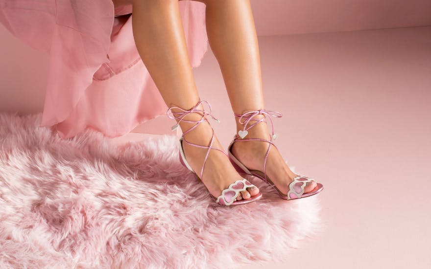 metallic pink wedding shoes with hearts