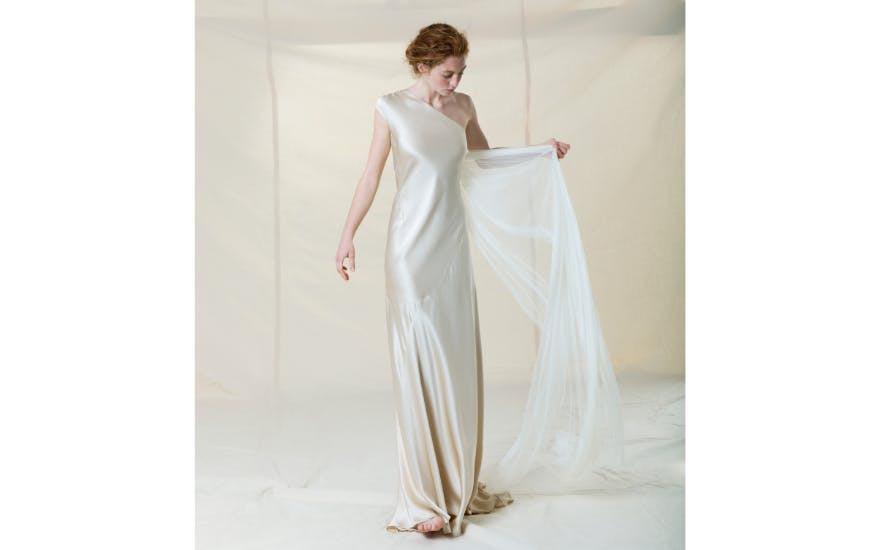 one shoulder simple wedding dress
