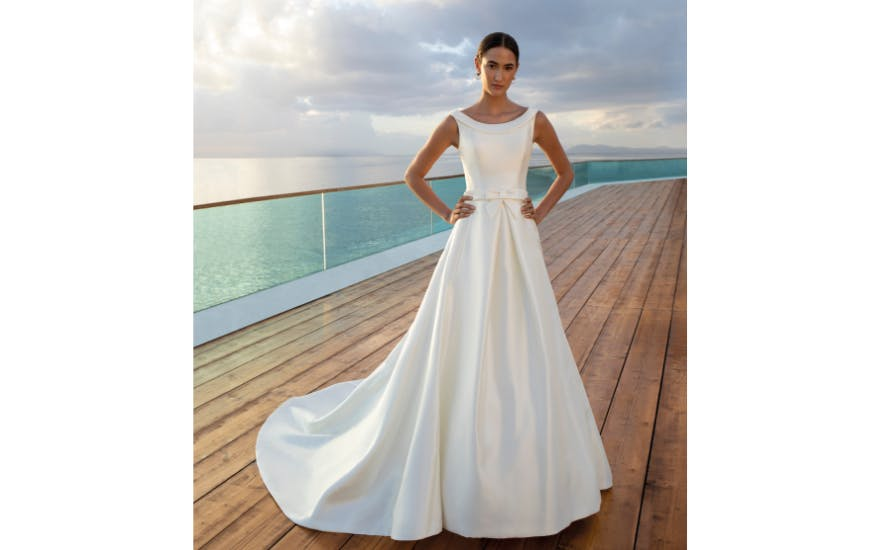 wide neck wedding dress
