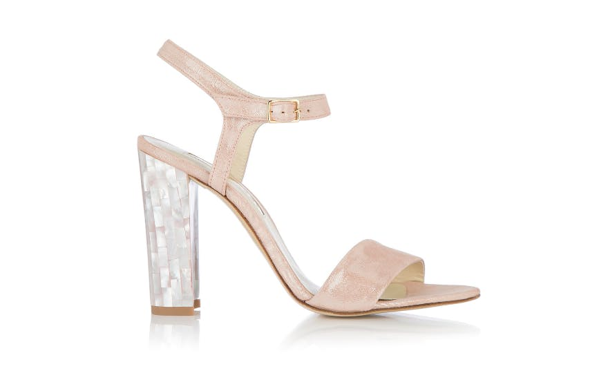 open toe pink wedding shoes