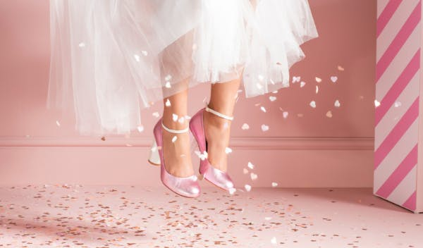 shiny pink wedding shoes