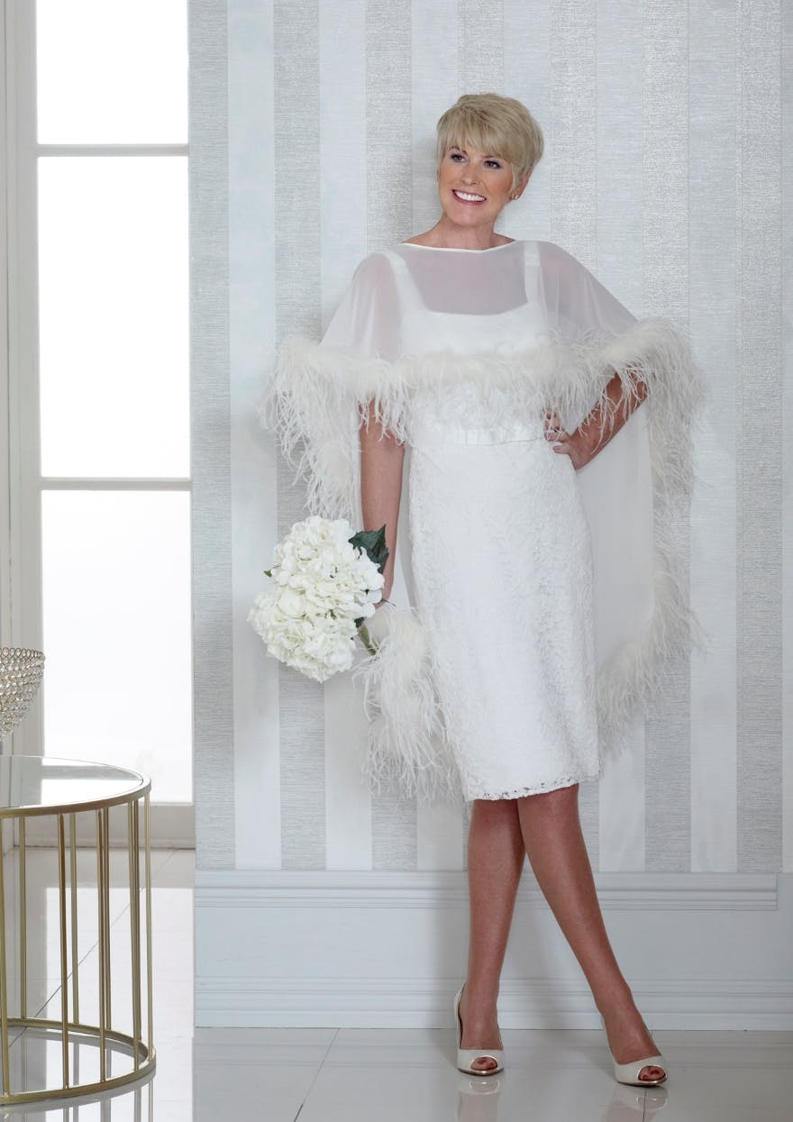 short-wedding-dress-with-feather-cape