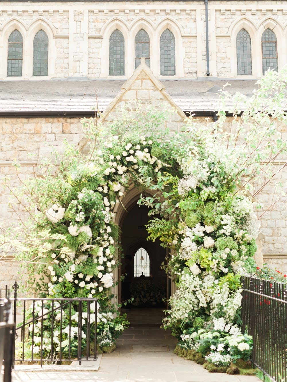green-and-white-wedding-floral-arch