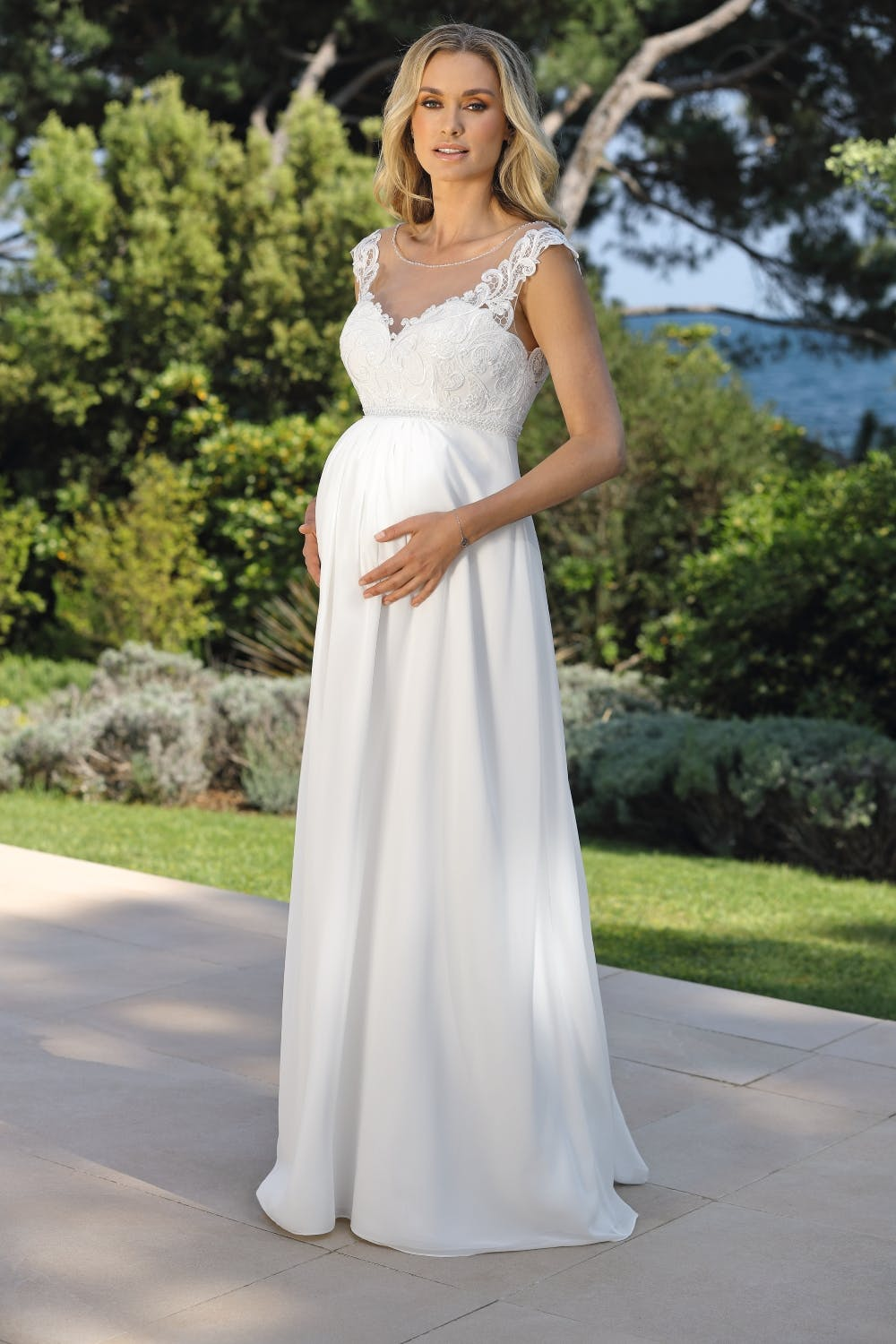 maternity-wedding-dress-with-illusion-neckline