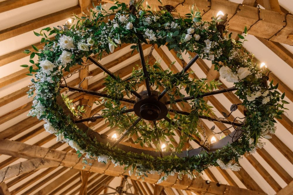 barn-wedding-suspended-floral-wheel