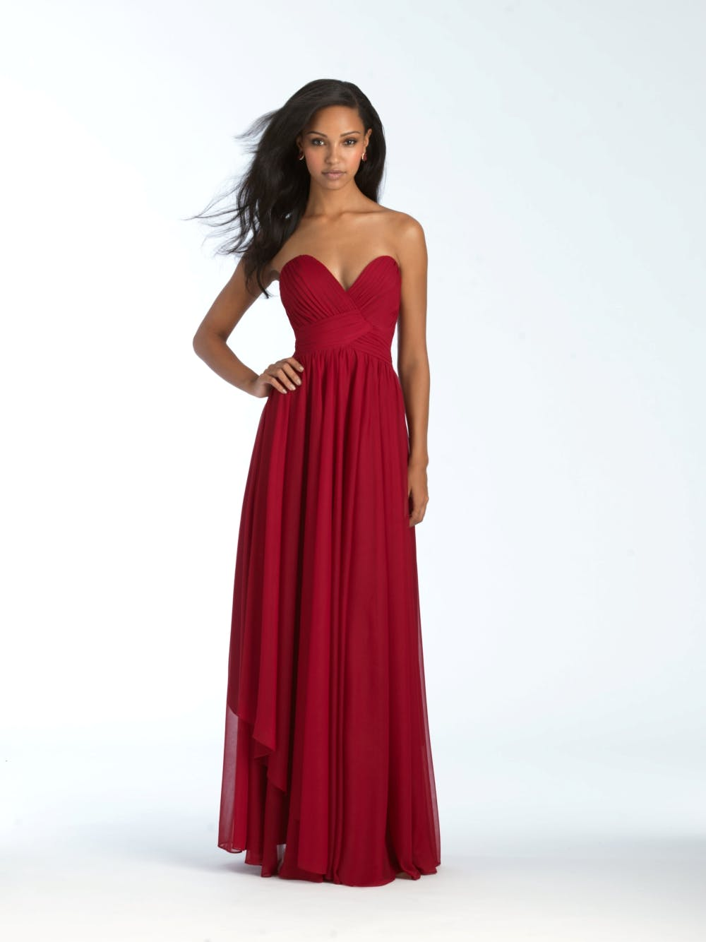 strapless-red-bridesmaid-dress