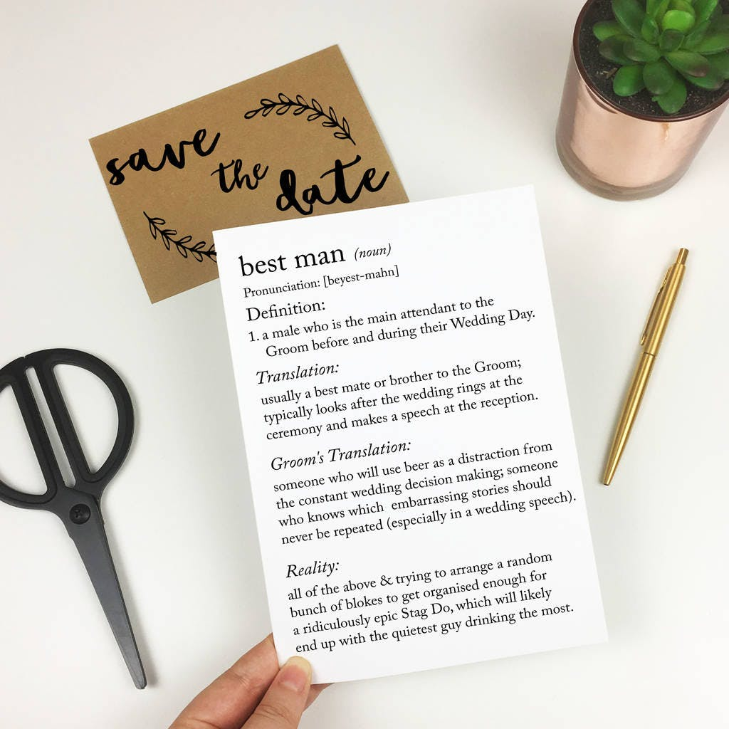 Funny best man proposal card