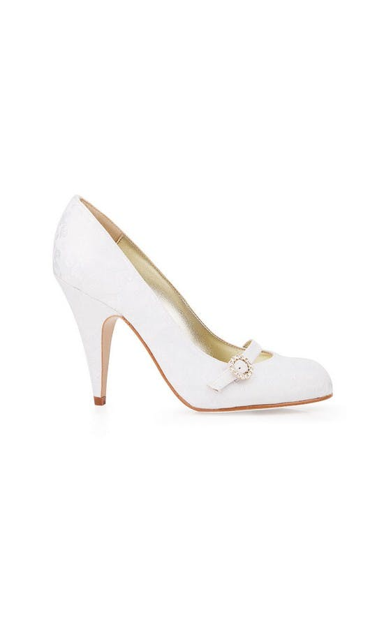 Beyond Skin Bridal Collection Grace White Damask Court Shoes #1